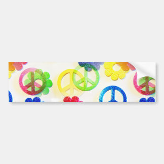 Groovy Hippie Peace Signs Flower Power Sparkles Bumper Sticker