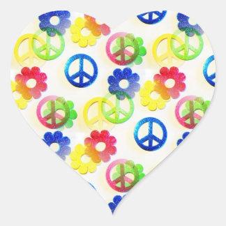 Groovy Hippie Peace Signs Flower Power Sparkles Heart Sticker
