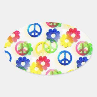 Groovy Hippie Peace Signs Flower Power Sparkles Oval Sticker