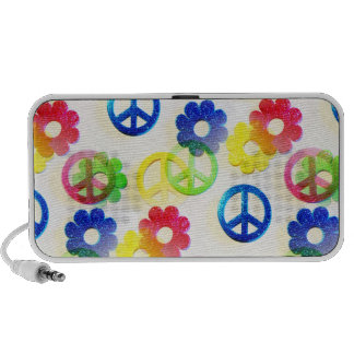 Groovy Hippie Peace Signs Flower Power Sparkles iPod Speakers