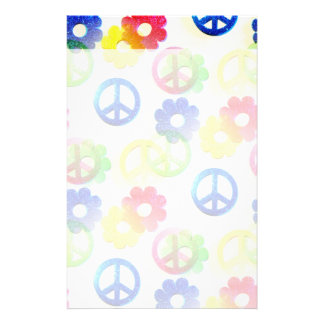 Groovy Hippie Peace Signs Flower Power Sparkles Stationery