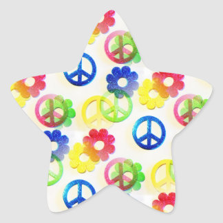Groovy Hippie Peace Signs Flower Power Sparkles Stickers