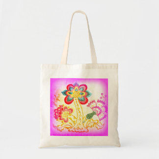 groovy hippie pink palm tree tote bag budget tote bag