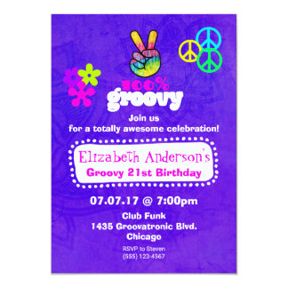 Groovy Hippie Theme Birthday Party 13 Cm X 18 Cm Invitation Card
