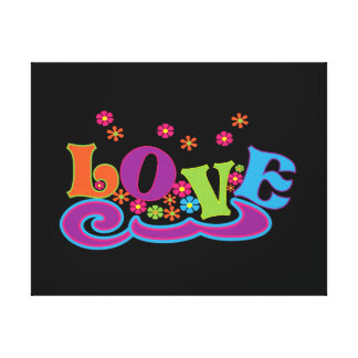 Groovy Hippy LOVE Word Art Graphic Canvas Print