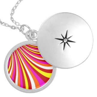 Groovy Hot Pink Red Yellow Orange Stripes Pattern Custom Necklace