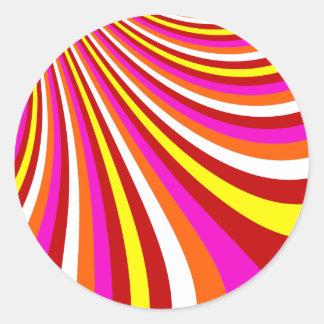 Groovy Hot Pink Red Yellow Orange Stripes Pattern Sticker