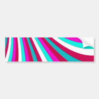 Groovy Hot Pink Teal Rainbow Slide Stripes Pattern Bumper Sticker