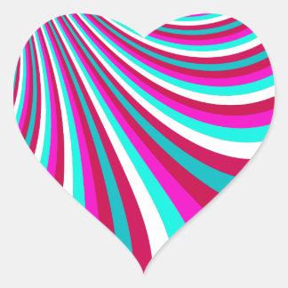 Groovy Hot Pink Teal Rainbow Slide Stripes Pattern Sticker
