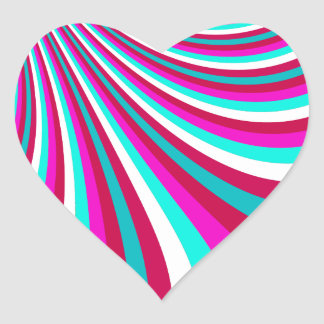 Groovy Hot Pink Teal Rainbow Slide Stripes Pattern Stickers