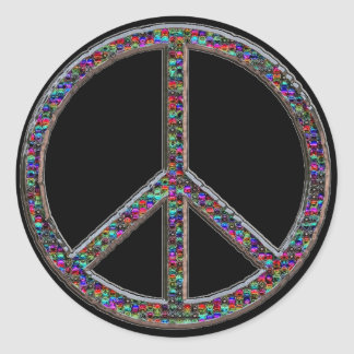 Groovy Jewelled Look Peace Sign Stickers