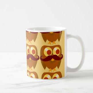 Groovy Moustache Owls Basic White Mug