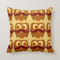 Groovy Moustache Owls Cushion