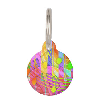 Groovy Musical Abstract Pet ID Tags