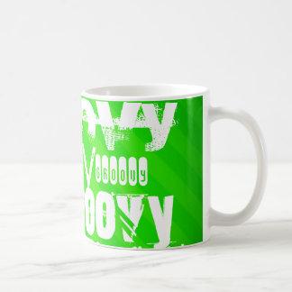 Groovy; Neon Green Stripes Classic White Coffee Mug