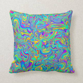 Groovy Neon Liquid Wet Paint Swirls Cushion