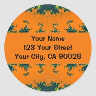 groovy orange fractal stickers