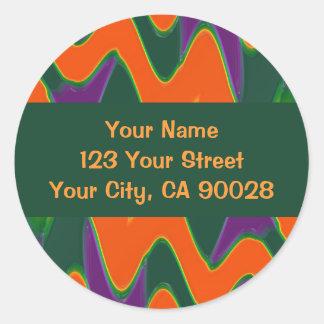 Groovy orange green purple round sticker