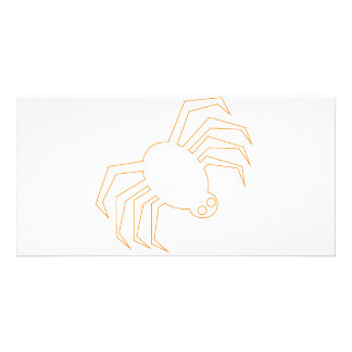 Groovy Orange Halloween Spider Photo Greeting Card