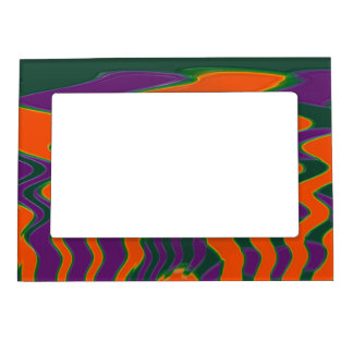 Groovy orange purple abstract photo frame magnets