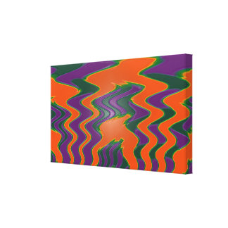 Groovy orange purple green abstract gallery wrapped canvas