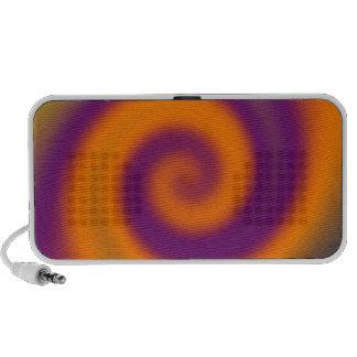 groovy orange purple twirl laptop speakers