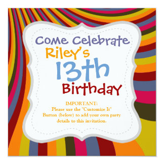 Groovy Orange Red Pink Green Rainbow Slide Stripes 13 Cm X 13 Cm Square Invitation Card