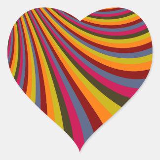 Groovy Orange Red Pink Green Rainbow Slide Stripes Heart Sticker