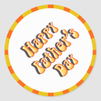 Groovy Orange Retro For Father's Day Round Sticker