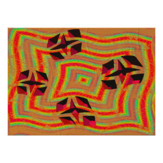 groovy orange star abstract poster