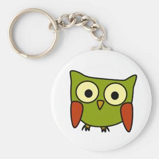 Groovy Owl Basic Round Button Key Ring