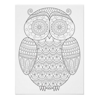 Groovy Owl Coloring Poster - Colorable Owl Art