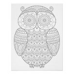 Groovy Owl Colouring Poster - Colorable Owl Art