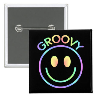 Groovy Pastel Smiley Retro Button Pin