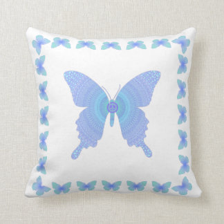Groovy Peace Butterfly blue on white pillow