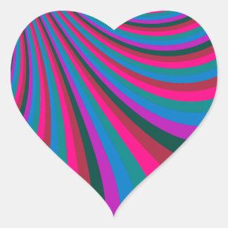 Groovy Pink Blue Rainbow Slide Stripes Pattern Heart Sticker