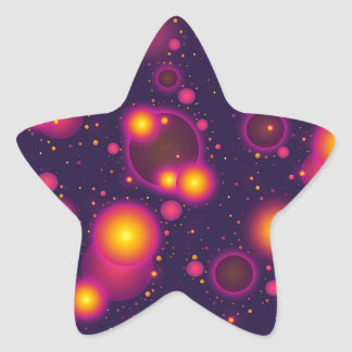 Groovy Pink Purple and Yellow Glowing Bubble Abstr Star Sticker