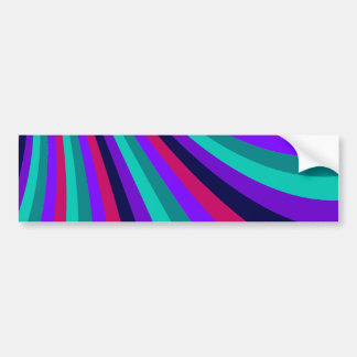 Groovy Pink Purple Aqua Rainbow Slide Stripes Bumper Sticker