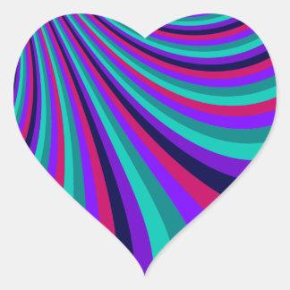 Groovy Pink Purple Aqua Rainbow Slide Stripes Heart Sticker