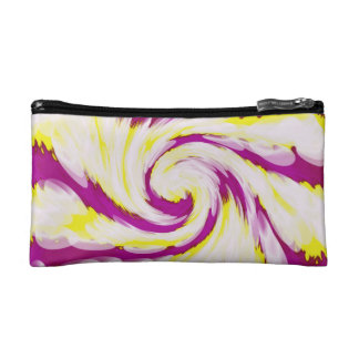 Groovy Pink Yellow White Swirl Abstract Cosmetic Bag