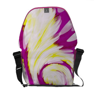 Groovy Pink Yellow White Swirl Abstract Messenger Bags
