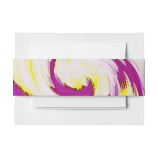 Groovy Pink Yellow White Tie Dye Swirl Abstract Invitation Belly Band