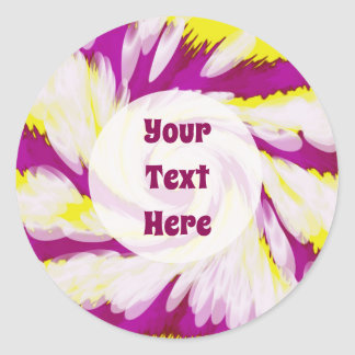 Groovy Pink Yellow White TieDye Swirl Abstract Classic Round Sticker