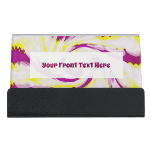 Bright colours business card holders zazzle groovy pink yellow white tiedye swirl abstract desk business card holder reheart Images
