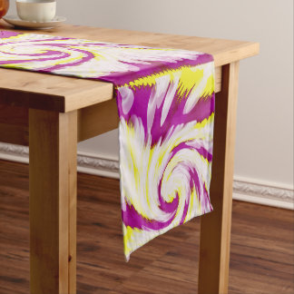 Groovy Pink Yellow White TieDye Swirl Abstract Long Table Runner