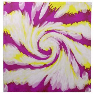 Groovy Pink Yellow White TieDye Swirl Abstract Napkin