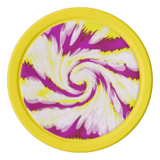 Groovy Pink Yellow White TieDye Swirl Abstract Poker Chips