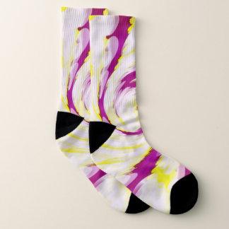 Groovy Pink Yellow White TieDye Swirl Abstract Socks