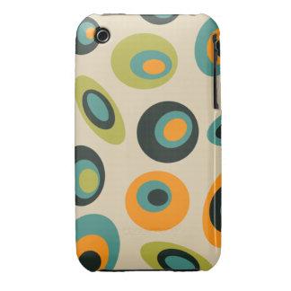 Groovy polka dots case green, teal, orange Case-Mate iPhone 3 case