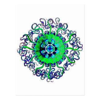 Groovy Pop Art Jellyfish MandalaTattoo Postcard